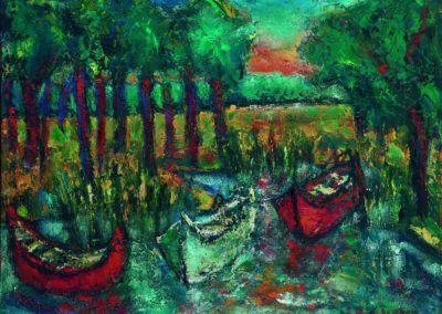 Barci in apus de soare la Lvov, uc 36x48 cm