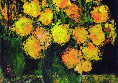Natura statica cu flori si rechuzita de atelier