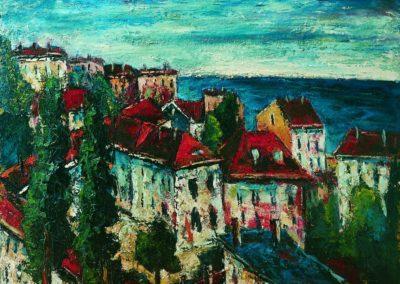 Peisaj cu case si mare la Constanta
