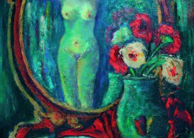 Natura statica cu flori si nud in oglinda