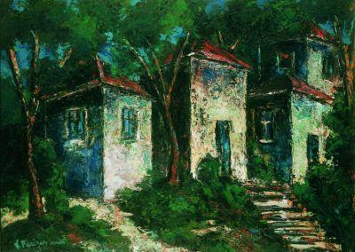 Trei case in plin soare, uc 36x48 cm