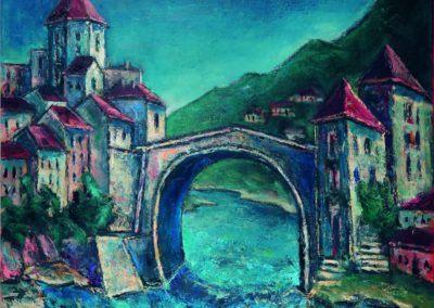 Peisaj la Mostar, uc 50x61 cm