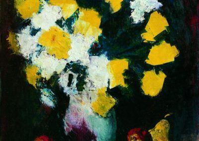 Flori albe si galbene pe fond rosu, uc 61x50 cm