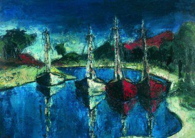 Barci albe si rosii pe lacul Baneasa