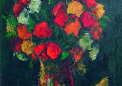 Natura moarta cu flori si mere, uc 61x50 cm