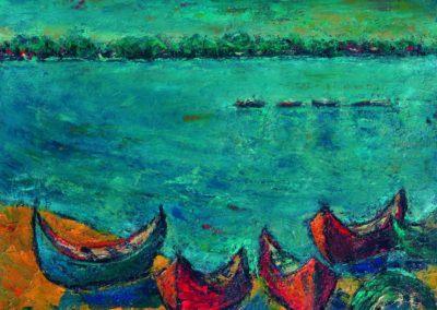 Barja pe Dunare la Macin, uc 36x48 cm