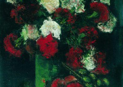Flori albe si rosii in vas verde, up 43x32 cm