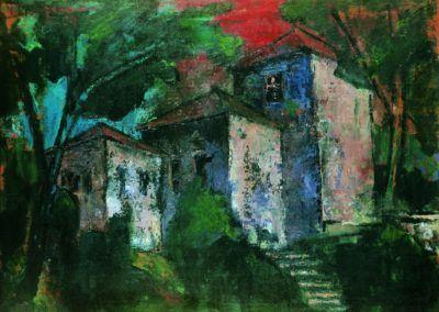 Trei case in amurg, Braila, uc 36x48 cm