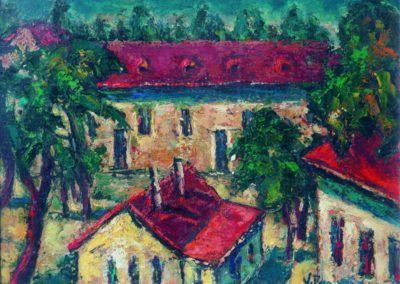 Peisaj cu case langa -Arta grafica-, upc 36x48 cm