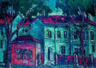 Casele vechi de pe Splaiul Dambovitei. uc 50x61 cm