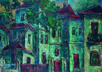 Casele verzi de pe podul Mihai Bravu, uc 50x61 cm