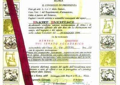 Diploma acordata la alegerea pictorului ca Senator efectiv al Academiei Internationale de Arta Moderna Roma,