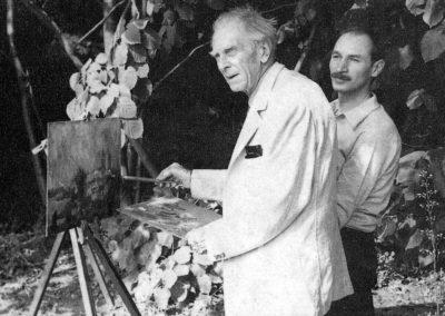 La Caldarusani, in 1972, alaturi de pictorul R. Schweitzer Cumpana